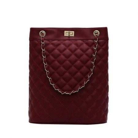 Poly Diamond Pattern Chain leather bucket Crossbody  Women bag Col.Burgundy Red