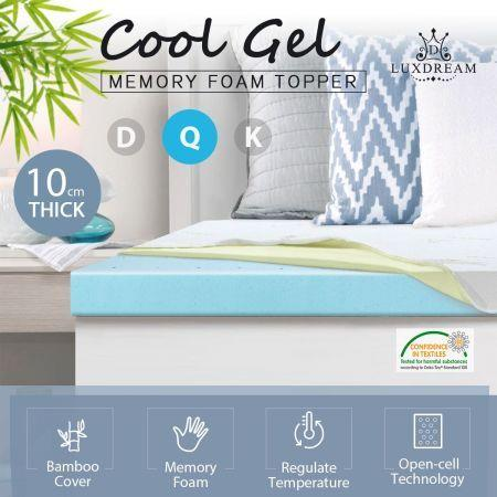 Image of 10cm Queen Size Cool Gel Memory Foam Mattress Topper Underlay Bamboo Cover