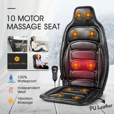 Image of 10 Motor Vibration Massage Cushion Chair Pad w/heat for Home Office Car