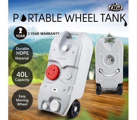 40L Wheel Water Tank Portable Outdoor Caravan Camping Motorhome Container - Grey
