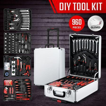 960-Piece Tool Kit Trolley Case 4-Tier Organiser Home Repair Storage Toolbox Set Silver