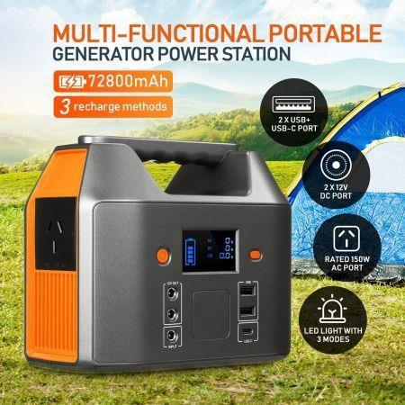 Image of Portable 72800mAh 150W Solar Generator Power Station Battery Backup