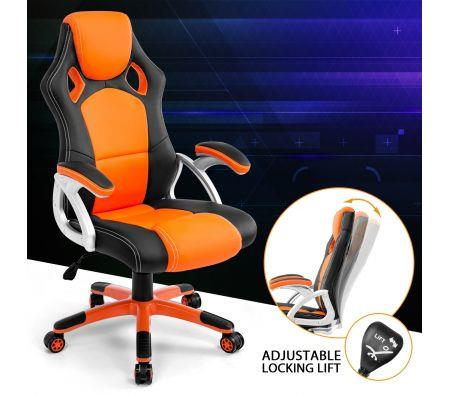 Image of Racing Office Computer Home Gaming Chair-Orange/Black