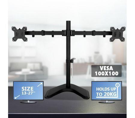 "Image of 13""-27"" Dual Monitor Stand Vesa Bracket 90� Tilting & 180� Swivel Height-Adjustable Desk Mount"