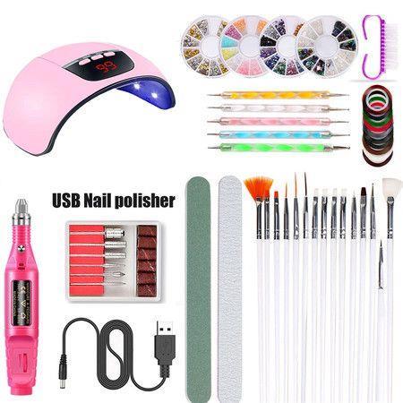 Image of Nail Polish 45W USB Nail Lamp UV Phototherapy Lamp Polishing Strip Manicure Tools Kit 40PCS