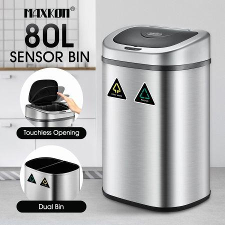 Image of 80L Motion Sensor Dual Rubbish Bin Stainless Steel Touchless Recycle Kitchen Waste Trash Can