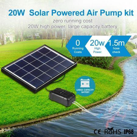 Image of 20W Solar Powered Panel Air Oxygenator Pump for Fish Pond Outdoor Pool