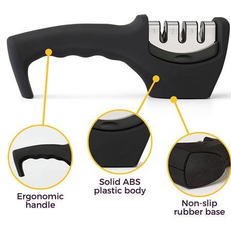 Image of 2-in-1 Kitchen Knife Accessories: 3-Stage Knife Sharpener Helps Repair, Restore and Polish Blades and Cut-Resistant Glove(Black)