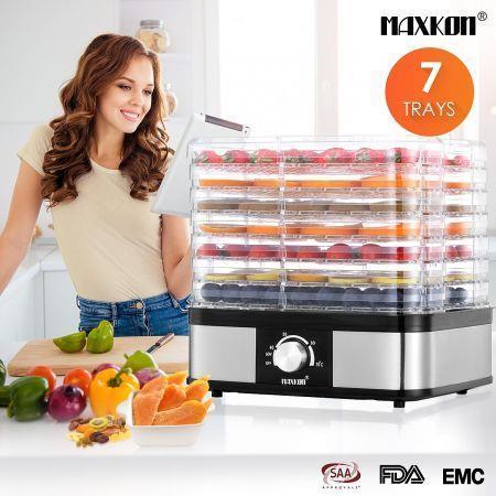 Food Dehydrator Fruit Meat Dryer Beef Jerky Maker w/ 7 Adjustable Trays - Black