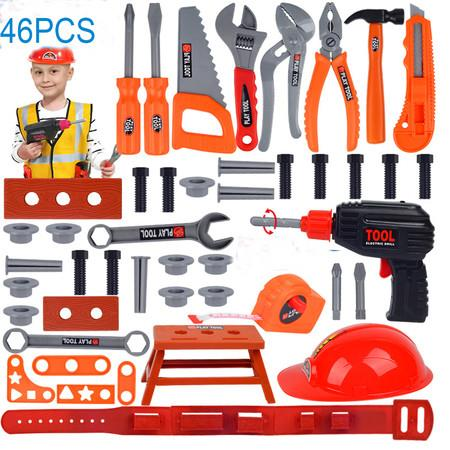 Image of 46pcs Pieces Kids Construction Toy Workbench for Toddlers Kids Workbench Construction Tool Bench Set, Boys Toy Work Shop Tools Workbench for Toddlers