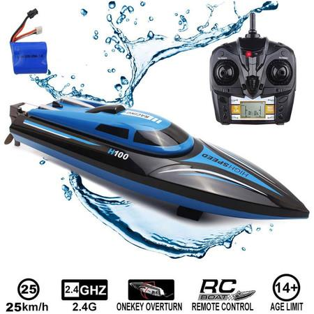 Image of RC Boat 2.4Ghz 25KM/H High Speed 4 Channels Remote Control Electric Racing Boat Blue