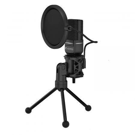 Image of USB Gaming Microphone,Computer Condenser PC Mic with Tripod Stand and Pop Filter(Black)