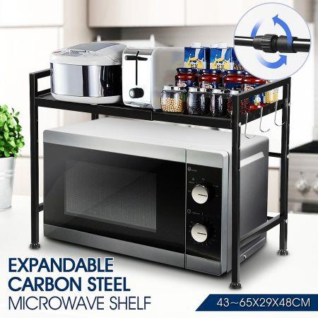 Image of 2-Tier Expandable Microwave Oven Rack Stand Steel Kitchen Rack Shelf Cabinet