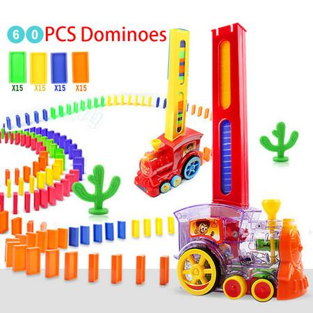 Image of Put Up The Domino Game Toy Set Automatic Placement Domino Train Car 60 PCS