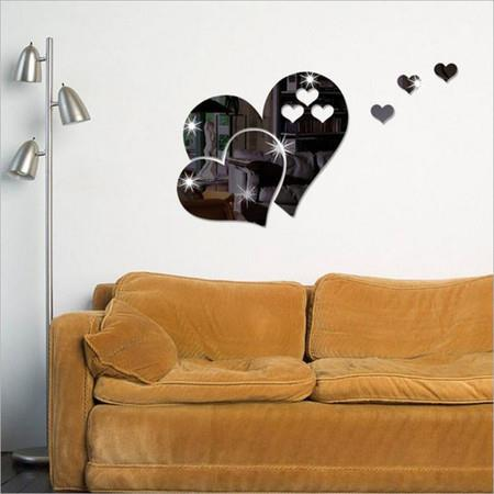 Image of 3D Mirror Love Hearts Wall Sticker Decal DIY Wall Stickers