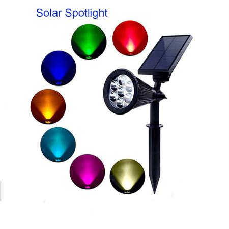 Image of Solar Spotlights| Color Changing 7 LED Waterproof Outdoor Garden Wall Lights