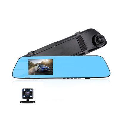 "Image of Car DVR Rear view Mirror Video Recroder 4.3"" inch Car Camera Dual lens Cam night"