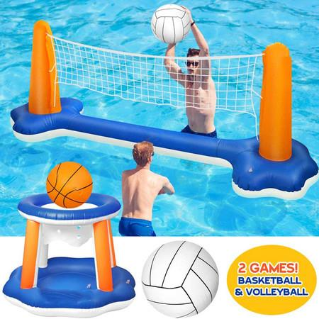 Image of Inflatable Pool Float Set Volleyball Net and Basketball Hoops