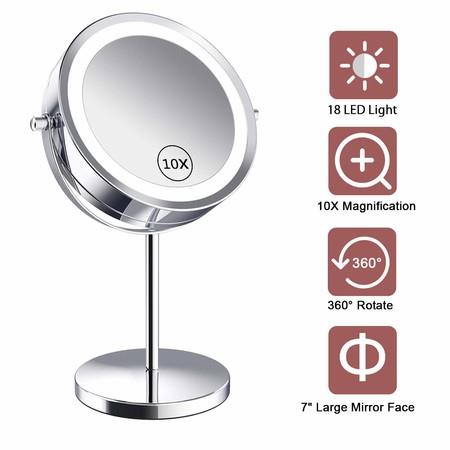Image of Lighted Makeup Mirror - LED Double Sided 1x/10x Magnification Cosmetic Mirror,7 Inch Battery-Powered 360 Degree Rotation Vanity Mirror with On/Off Push-Button (10x Button Switch Mirror)