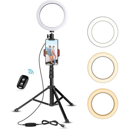 Image of Selfie Ring Light with Tripod Stand & Cell Phone Holder for Live Stream/Makeup, UBeesize Mini Led Camera Ringlight for YouTube Video/Photography Compatible with iPhone Xs Max XR Android (Upgraded)