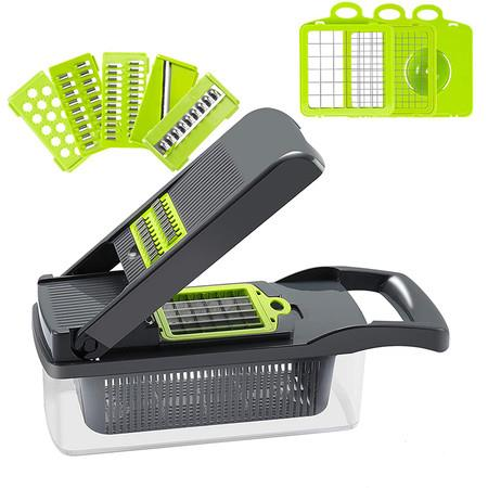 Image of Onion Chopper Vegetable Chopper Mandoline Slicer Dicer with Colander Basket And Container Food Chopper Onion Cutter with Protective Gloves(Gray)