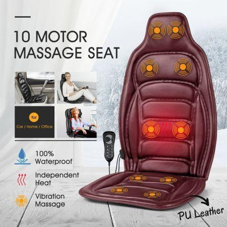 Image of 10 Motor Vibration Massage Cushion Heat Massage Chair Pad for Home Office Car