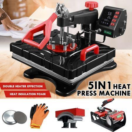 Image of 5 In 1 Heat Press Machine Swivel Multifunctional T-Shirt Heat Transfer with LCD Display