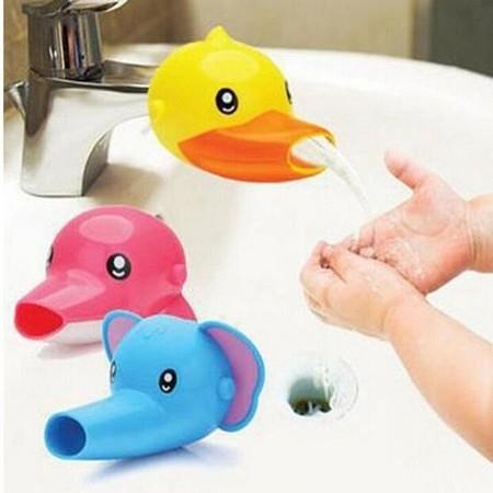 Image of 3 Sets Of Cartoon Elephant Airplane Little Yellow Duck Faucet Extenders, Help Children Wash Their Hands, Bath Toys