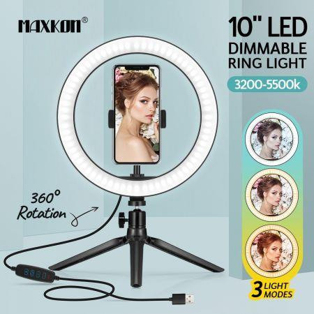 Image of 10 Inch LED Ring Light Selfie Ring Light with Desktop Stand for Live Video Photography