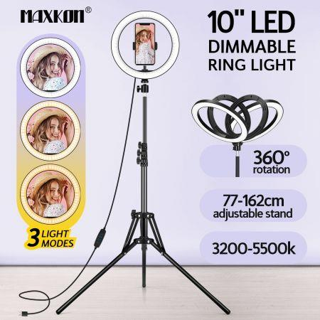 Image of 10 Inch LED Ring Light Selfie Ring Light with Tripod Stand for Live Video Photography