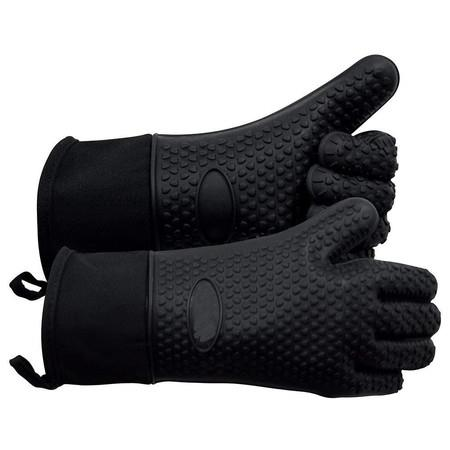 Grilling Gloves, Heat Resistant Gloves BBQ Kitchen Silicone Oven Mitts (Black)