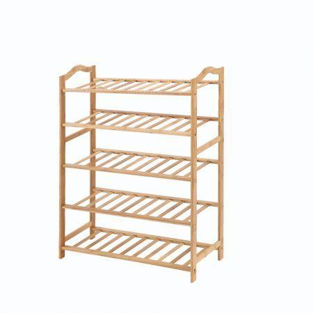 Image of Levede Bamboo Shoe Rack Storage Wooden Organizer Shelf Stand 5 Tiers Layers 70cm