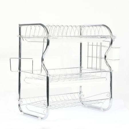 Image of 3 Tier Stainless Steel Dish Rack Drainer Tray Kitchen Storage Cup Cutlery Holder