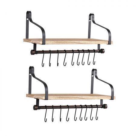 Image of Levede Floating Shelf Brackets Wall Shelves Mount Display Rack Storage Hook 2pcs