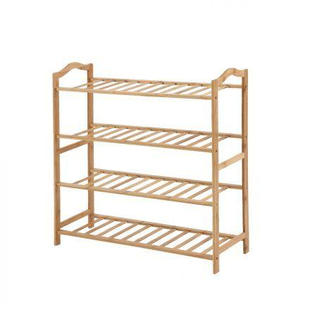 Image of Levede Bamboo Shoe Rack Storage Wooden Organizer Shelf Stand 4 Tiers Layers 80cm