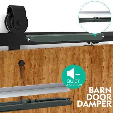 Image of Antique Style Sliding Barn Double Door Hardware Damper Quiet Closing Tool Kit