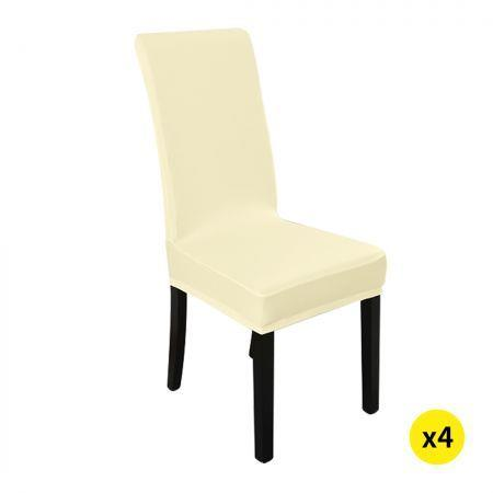 Image of 4x Stretch Elastic Chair Covers Dining Room Wedding Banquet Washable Champagne