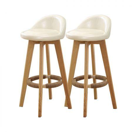 Image of 2x Levede Leather Swivel Bar Stool Kitchen Stool Dining Chair Barstools Cream