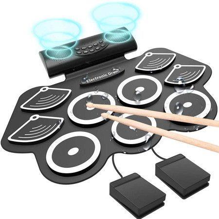 Roll Up Drum Practice Pad Midi Drum Kit with Headphone Jack Built-in Speaker Drum Pedals Drum Sticks