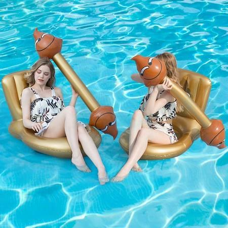 Image of 4 Pcs Package Toilet Seat Shape Floating Water Toys Aerated Battle Pool Toys Pool Party Water Sports Games to Float Toys