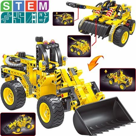 Image of Building Toys Gifts (Bulldozer & Tank), Construction Engineering Set forKids Christmas Birthday, Best Educational STEM Learning Kits