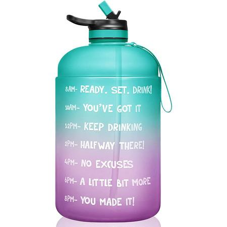 Image of 1 Gallon/128oz Motivational Water Bottle with Time Marker And Straw BPA Free