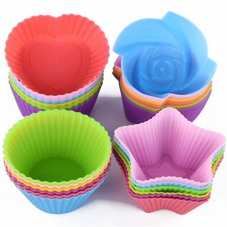 Image of 32PCS Silicone Cupcake Liners Reusable Baking Cups Nonstick Easy Clean Pastry Muffin Molds 4 Shapes