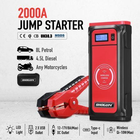 Image of Portable Car Jump Starter 12V Wireless Battery Charger Power Bank 2000A