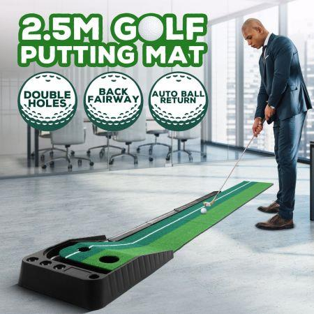 Image of 2.5M Golf Putting Mat Indoor Putting Greens Golf Practice Mat with Auto Ball Return