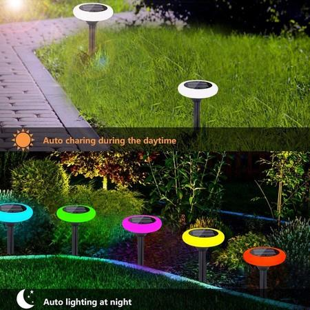 Image of 4 Pcs Solar Landscap Path Lights with 7 Colour Changing Outdoor Lawn Pathway LightsWaterproof Decoration Lights