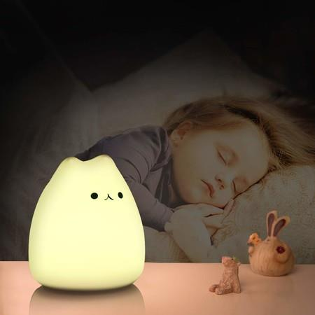 Image of Portable Cute Kitty Silicone LED Night Lamp,USB Rechargeable Children Night Light with Warm White & 7-Color Breathing Modes, Touch Sensor Control