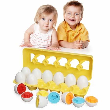 Image of 12 Matching Eggs Educational Color & Shape Recognition Sorter Puzzle Skills Study Toys
