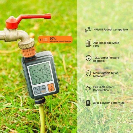 Image of Hose Sprinkler Timer Waterproof Child Lock Rain Delay Large Screen IP65 for Garden Lawn
