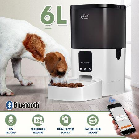 Image of Petscene 6L Automatic Pet Feeder Dog Cat Feeder Food Dispenser with Bluetooth